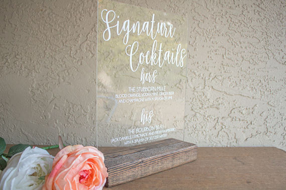 Acrylic Wedding Signature Cocktail Sign