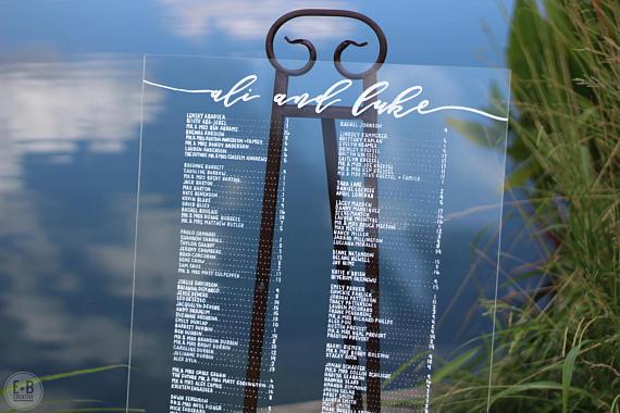 Acrylic Wedding Seating Chart Sign