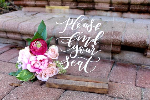 Acrylic Calligraphy Wedding Signs