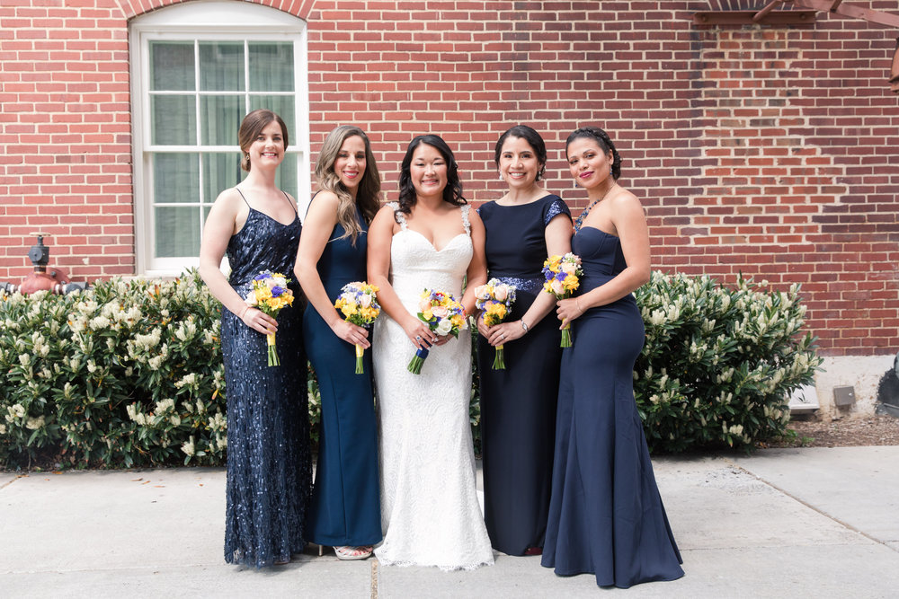 Navy bridesmaid dresses - A Classic George Washington Hotel Wedding - Photography by Marirosa