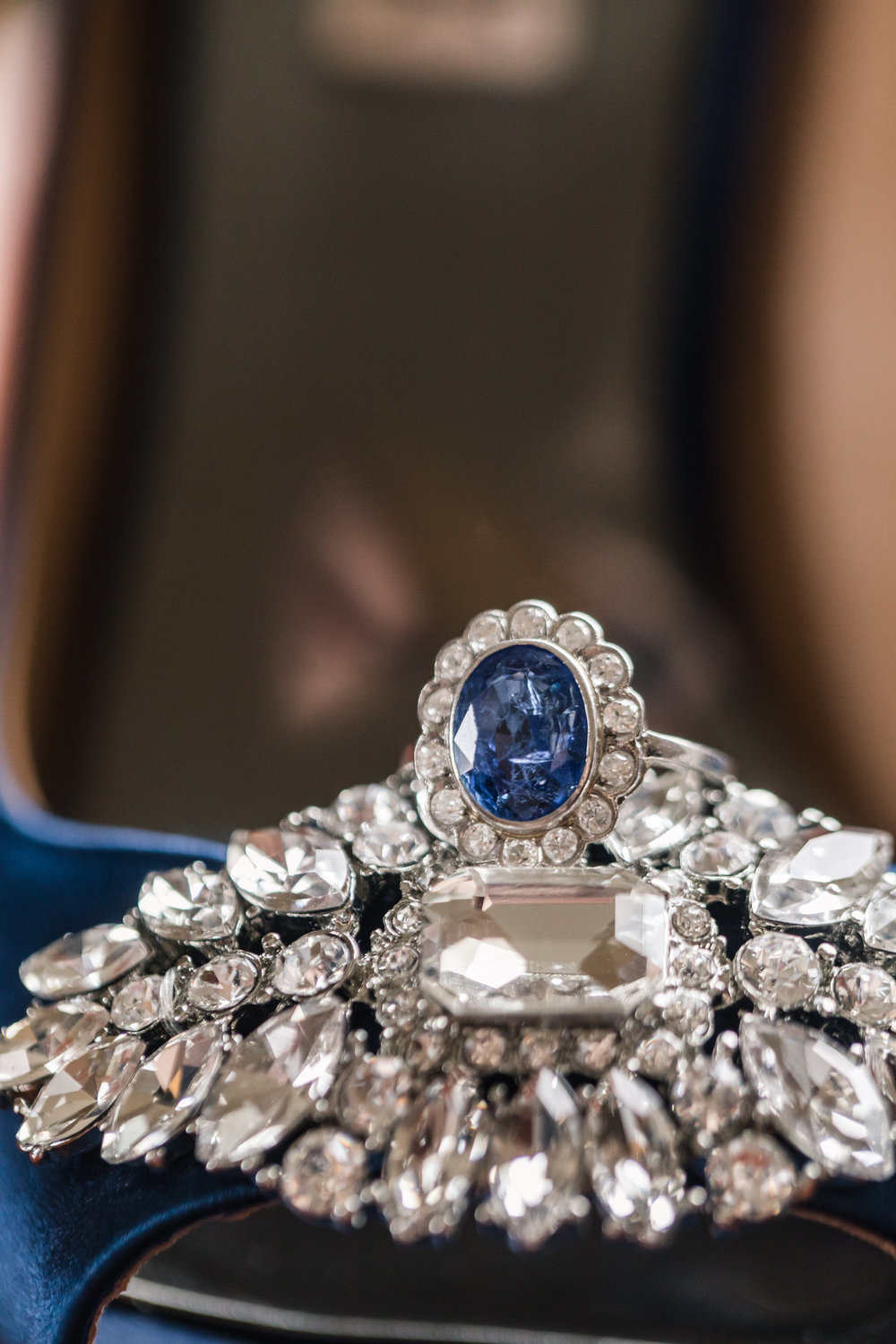 Blue Halo Engagement Ring - A Classic George Washington Hotel Wedding - Photography by Marirosa