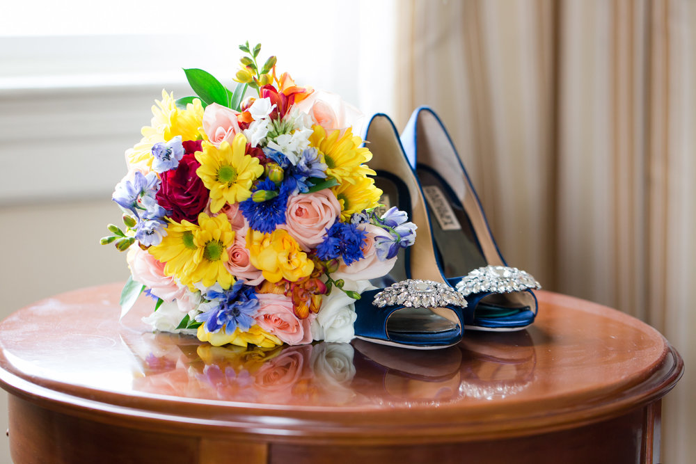 Blue Wedding Bridal Heels - A Classic George Washington Hotel Wedding - Photography by Marirosa