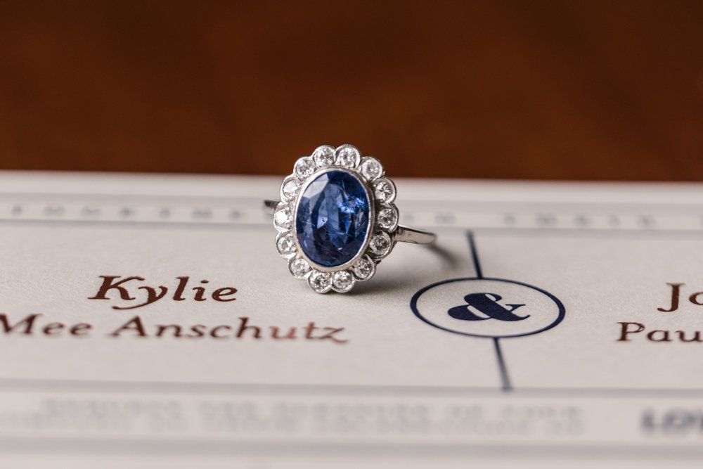 Blue Halo Vintage Engagement Ring - A Classic George Washington Hotel Wedding - Photography by Marirosa