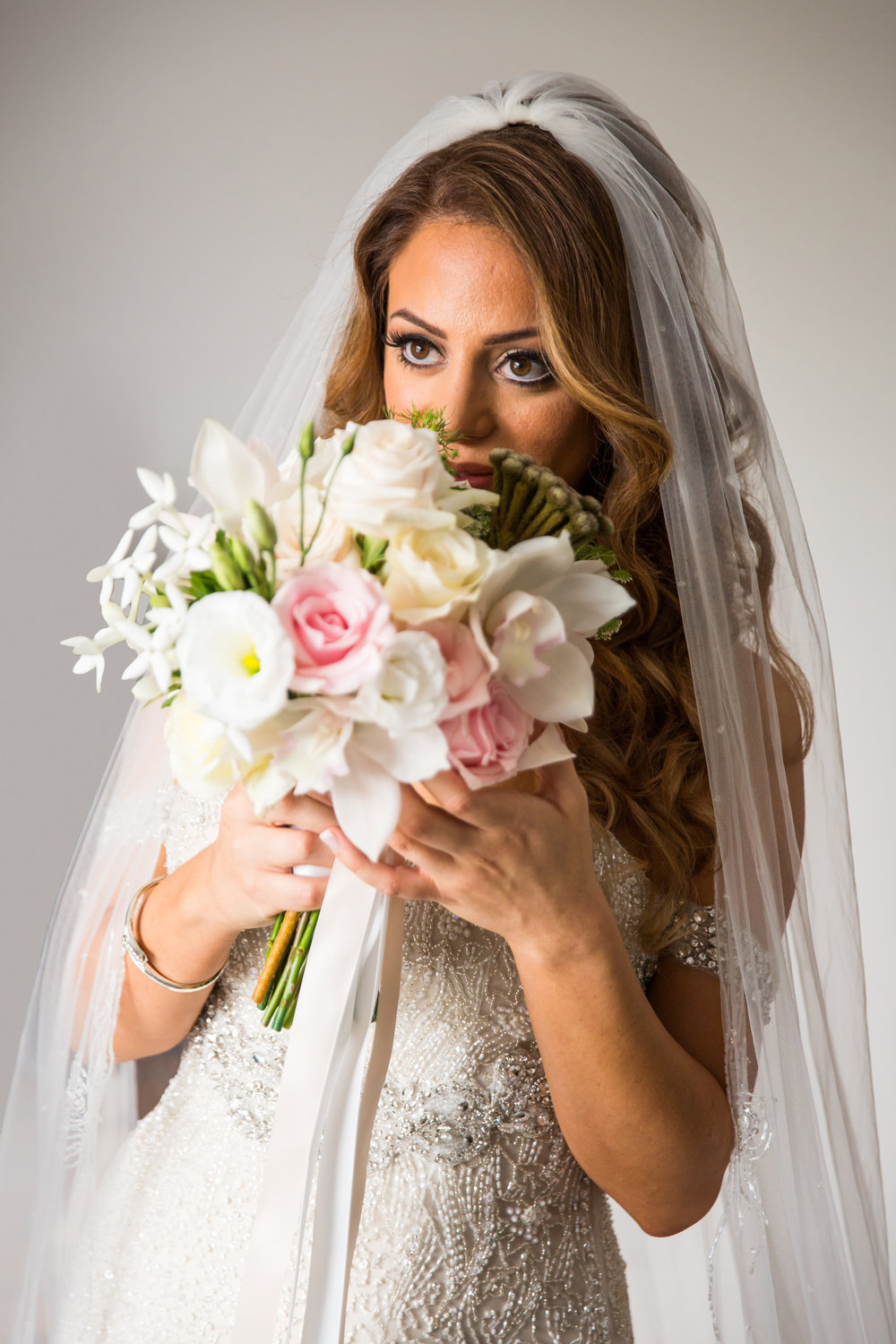 Pink and White Rose Bridal Bouquet - A Curzon Hall Wedding - T-One Photography