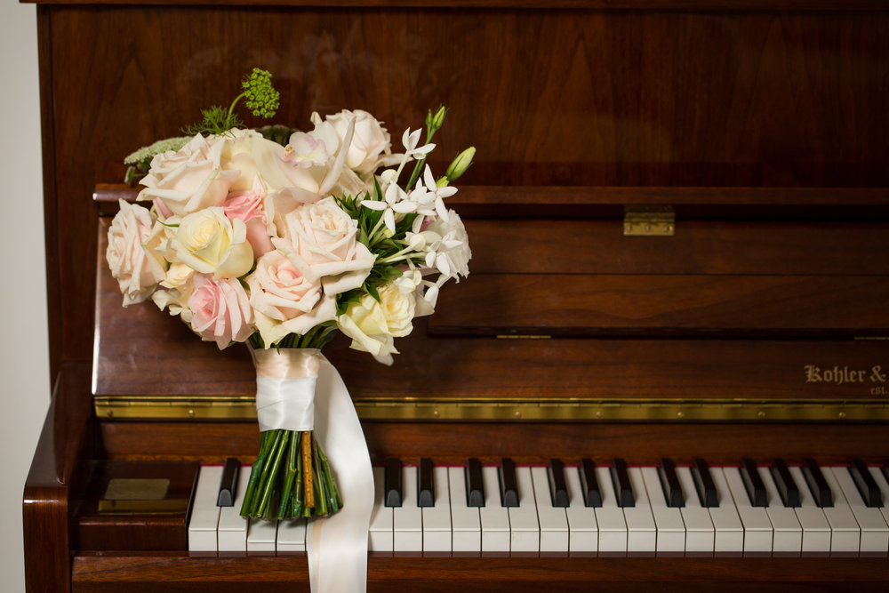 White and Light Pink Wedding Bouquet - A Curzon Hall Wedding - T-One Photography