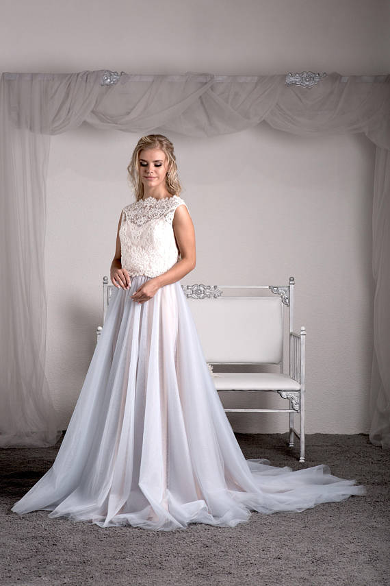 Affordable Bridal Separates - Wedding Dress Crop Top and Tulle Skirt