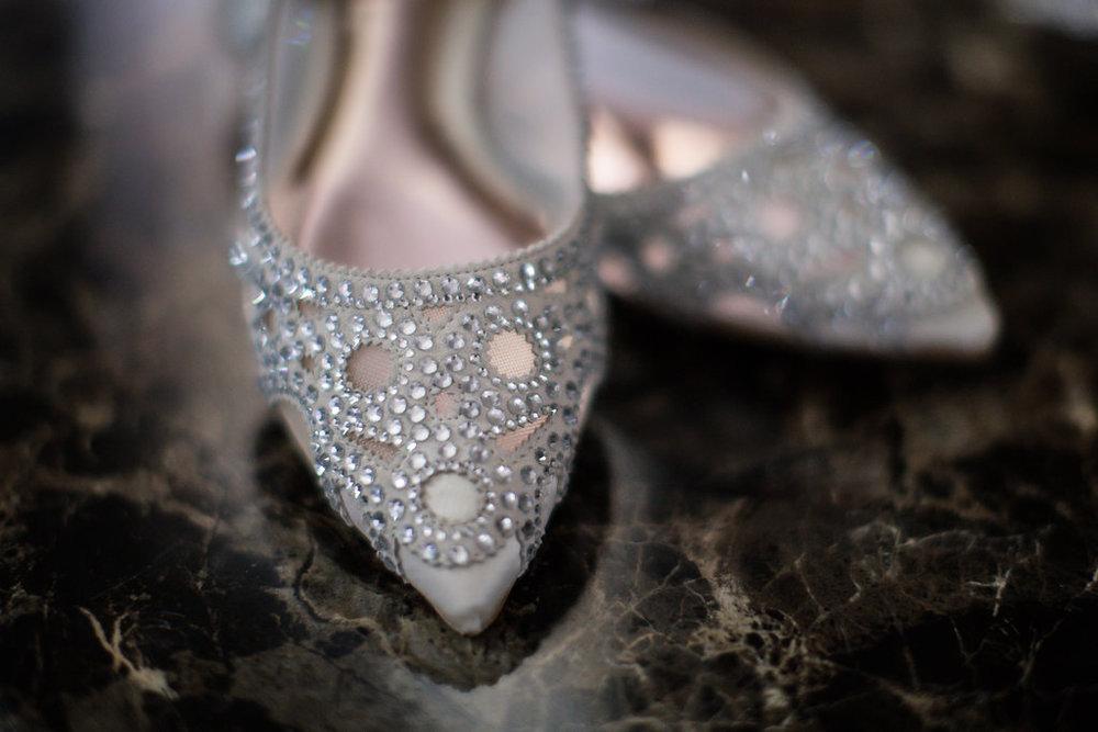 Silver Embellished Bridal Flats - A Blue + Gold Rancho El Toro Courtyard Wedding - Oana Foto