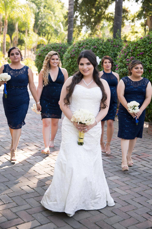 Navy Blue Bridesmaid Dresses - A Blue + Gold Rancho El Toro Courtyard Wedding - Oana Foto