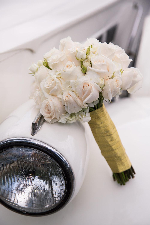 White Rose Bridal Bouquet - A Blue + Gold Rancho El Toro Courtyard Wedding - Oana Foto