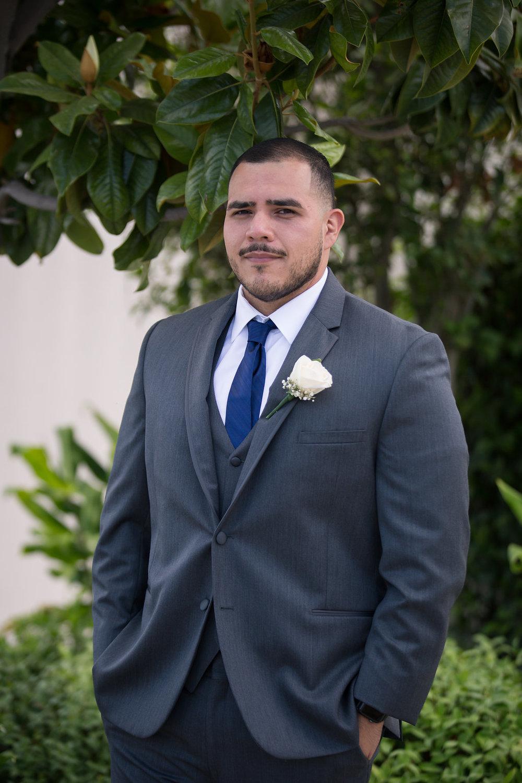 Grey Groom Suit - A Blue + Gold Rancho El Toro Courtyard Wedding - Oana Foto