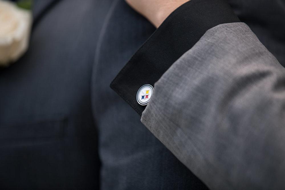Steelers Men's Groom Cufflink - A Blue + Gold Rancho El Toro Courtyard Wedding - Oana Foto