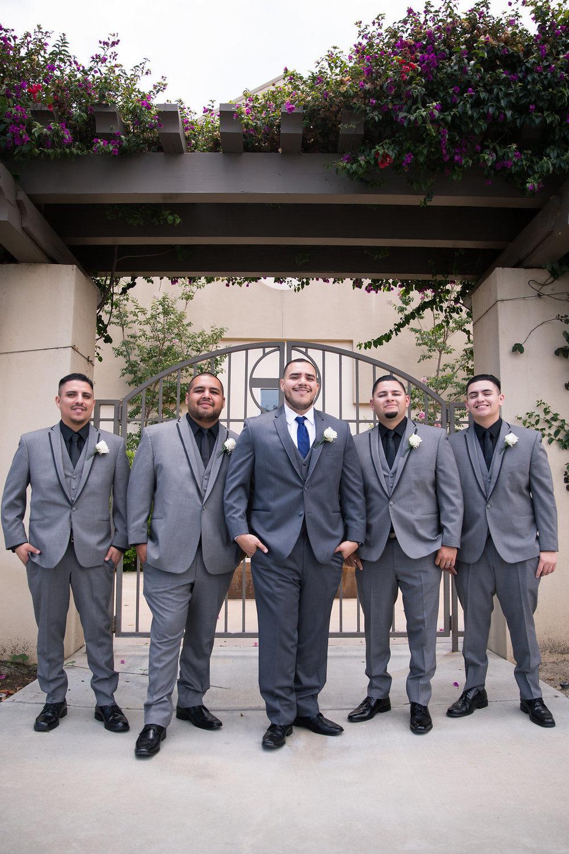 Grey Groomsman Suits - A Blue + Gold Rancho El Toro Courtyard Wedding - Oana Foto