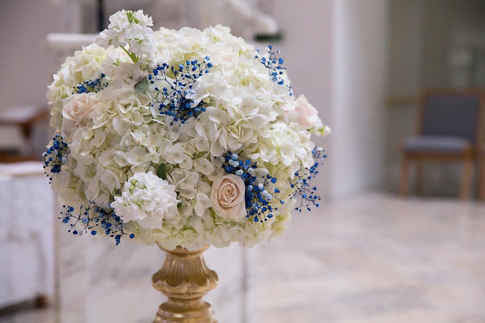 White and Blue Church Wedding Decor-Floral - A Blue + Gold Rancho El Toro Courtyard Wedding - Oana Foto