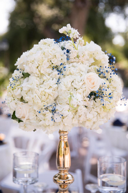 Blue and White Wedding Centerpieces - A Blue + Gold Rancho El Toro Courtyard Wedding - Oana Foto