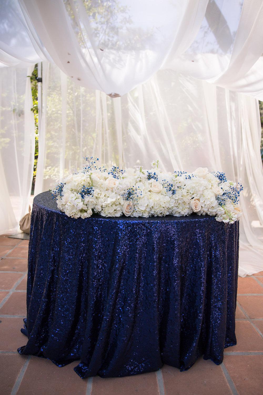 Navy Blue Sequin Linen Sweetheart Table - A Blue + Gold Rancho El Toro Courtyard Wedding - Oana Foto
