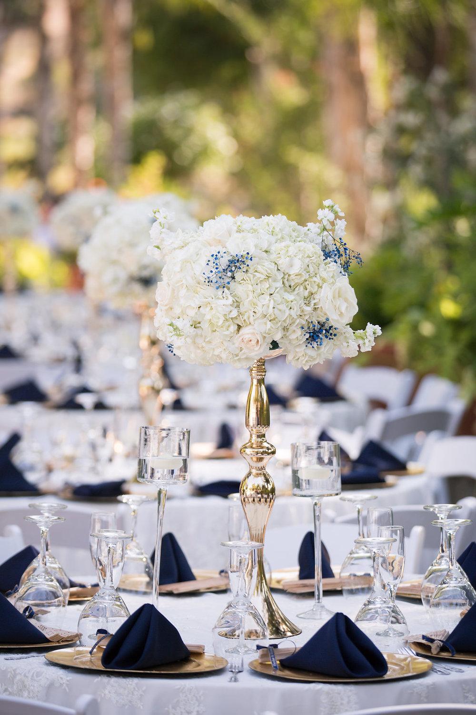 Navy Blue and Gold Wedding Place Setting - A Blue + Gold Rancho El Toro Courtyard Wedding - Oana Foto