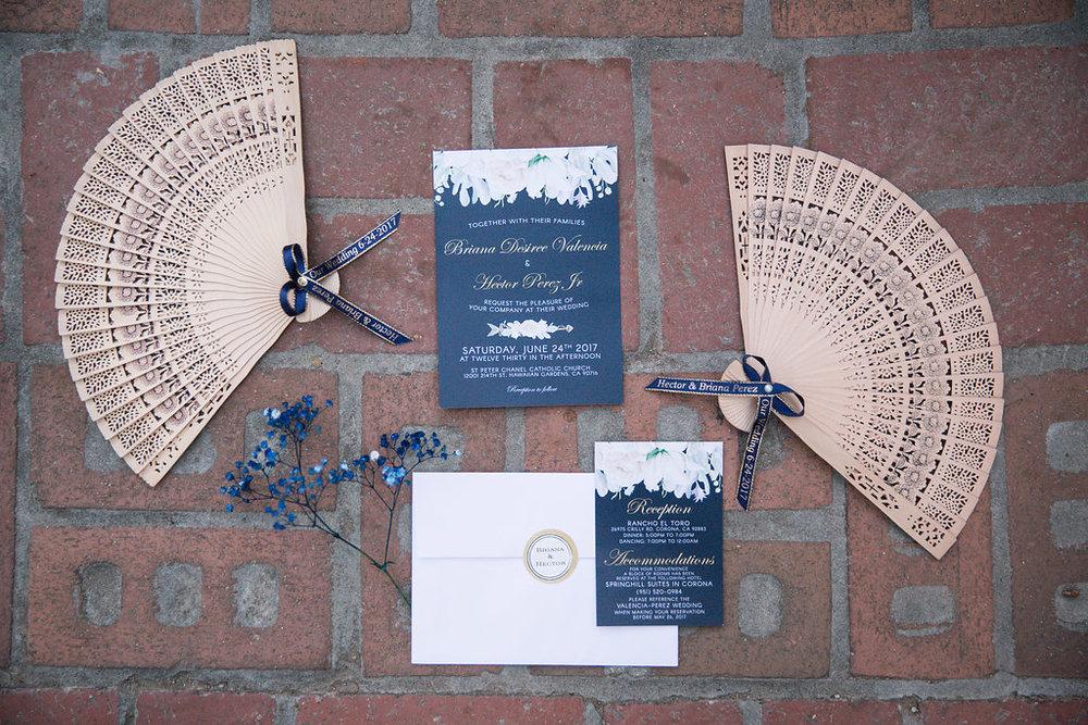 Navy and White Wedding Invitations -