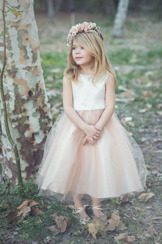 Blush-Light Pink Tulle Poofy Flower Girl Dresses