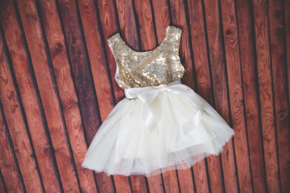 Gold Sequin and Ivory Tulle Poofy Flower Girl Dresses