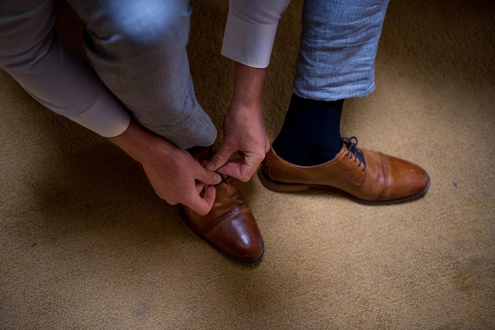 Brown groom shoes - Catskills Hunter Mountain Bohemian Wedding - Custom by Nicole Photography