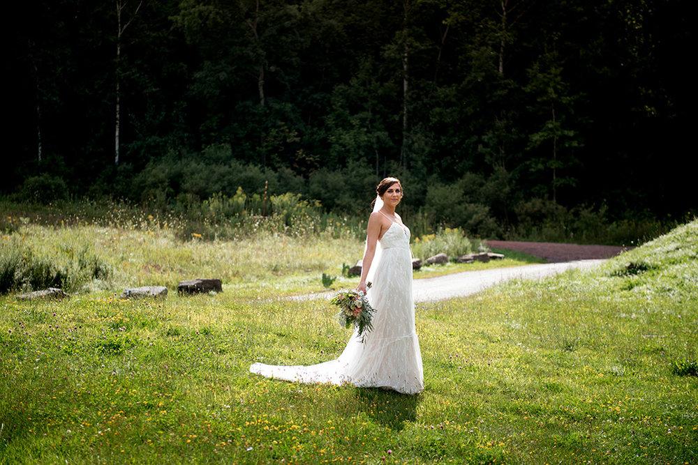Bohemian Wedding Dress - Catskills Hunter Mountain Bohemian Wedding - Custom by Nicole Photography
