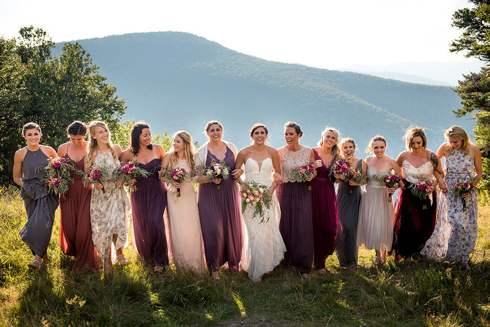 Shades of Purple Bridesmaid Dresses - Catskills Hunter Mountain Bohemian Wedding - Custom by Nicole Photography