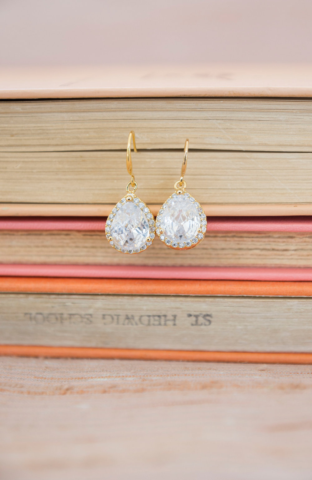 Gold Tear Drop Bridal Earrings - A McCoy Equestrian Center Wedding - Peterson Design & Photography