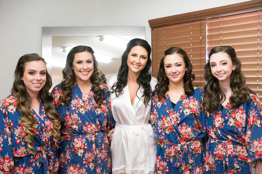 Navy Floral Bridesmaid Robes - A McCoy Equestrian Center Wedding - Peterson Design & Photography