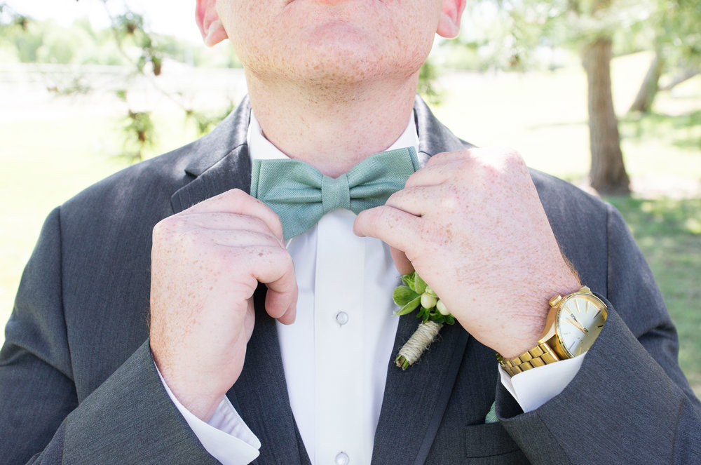 Mint Groom Bow Tie - A McCoy Equestrian Center Wedding - Peterson Design & Photography