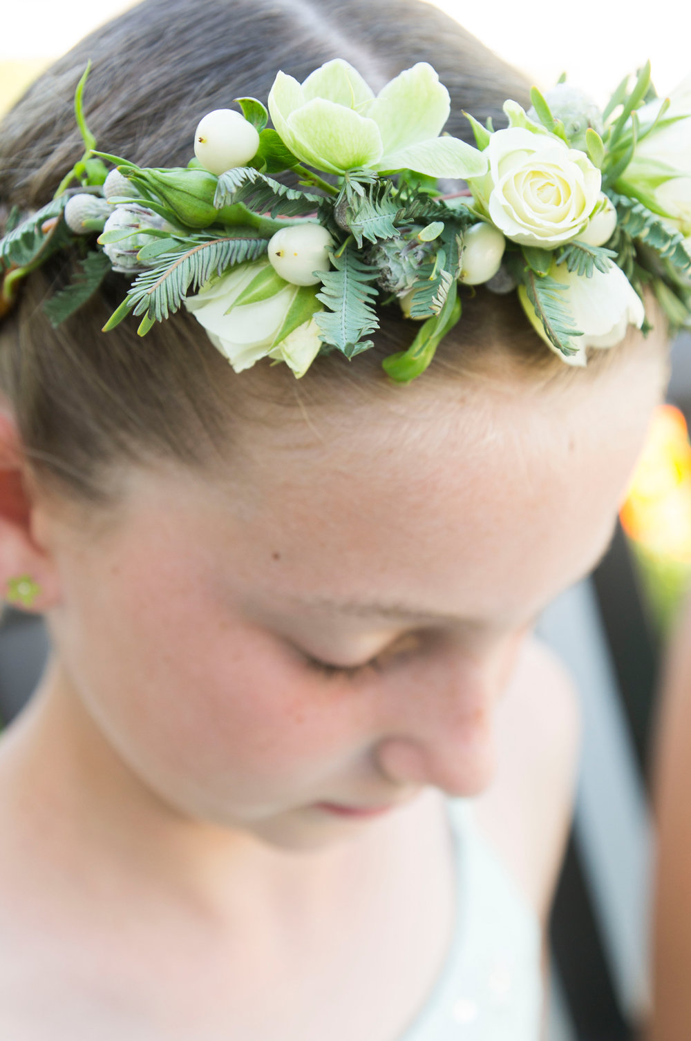 Green and White Flower Girl Flower Crown - A McCoy Equestrian Center Wedding - Peterson Design & Photography