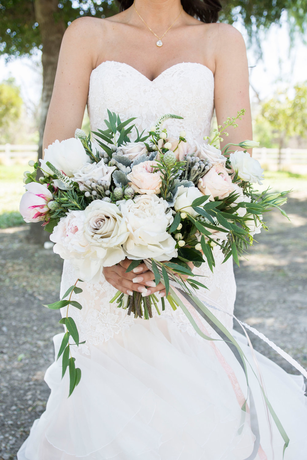 Green and White Wedding Bouquet - A McCoy Equestrian Center Wedding - Peterson Design & Photography