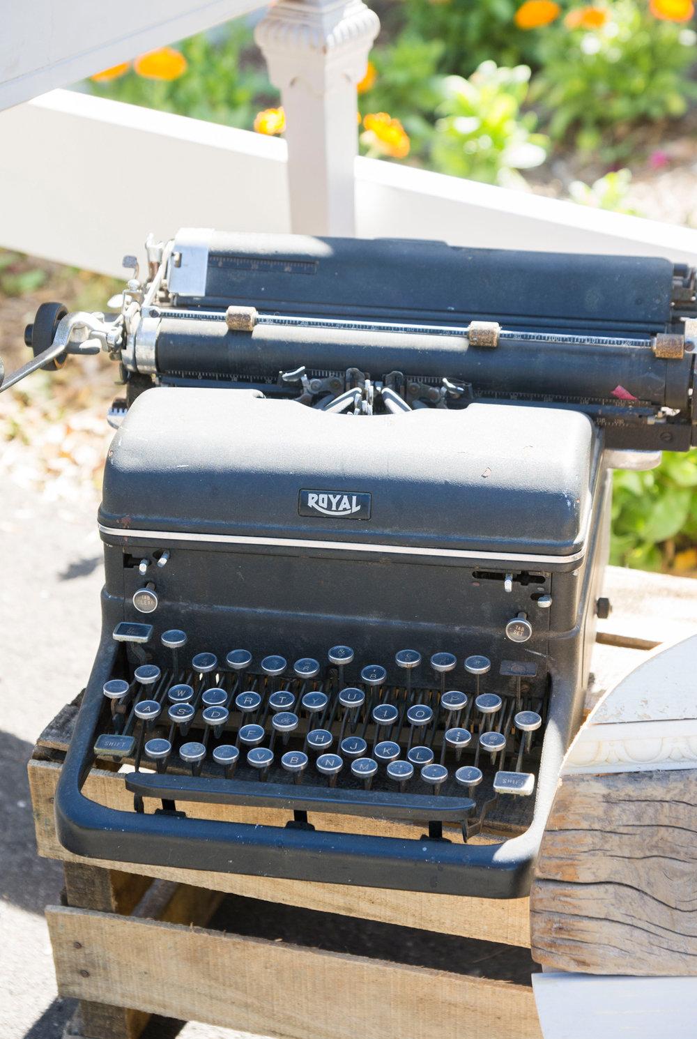Vintage Wedding Decor Typewriter - McCoy Equestrian Center Wedding - Peterson Design & Photography