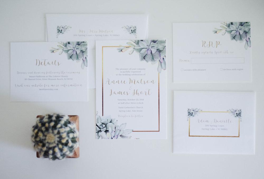 The Bridal Boutique | Succulent Wedding Invitation Suite - Jade Forest Design