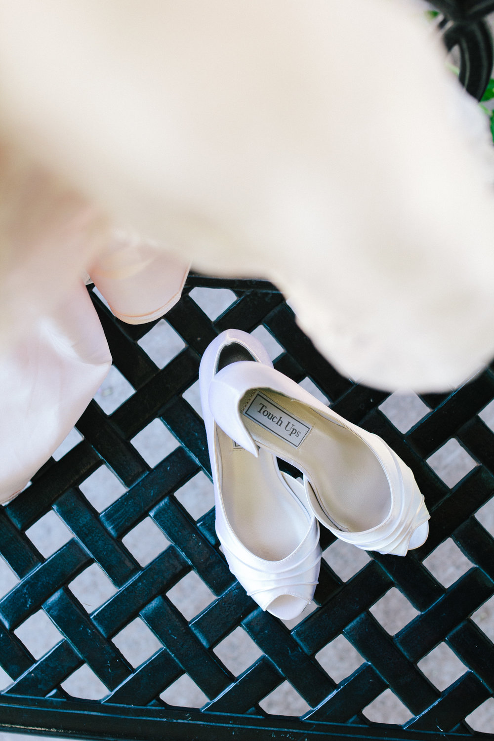 White Wedding SHoes - A Champagne + Blush Oklahoma Wedding - Meditations Event Center - From Britt's Eye View Photography