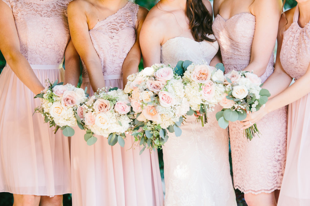 Blush and white Wedding Bouquets -A Champagne + Blush Oklahoma Wedding - Meditations Event Center - From Britt's Eye View Photography