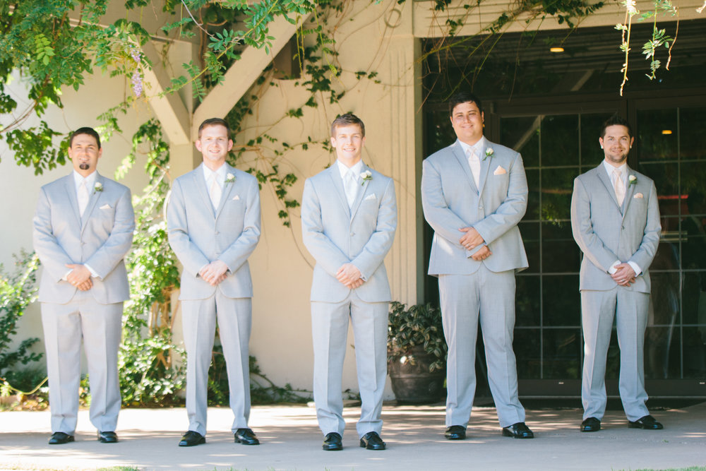 Light Grey Groomsmen Suits - A Champagne + Blush Oklahoma Wedding - Meditations Event Center - From Britt's Eye View Photography