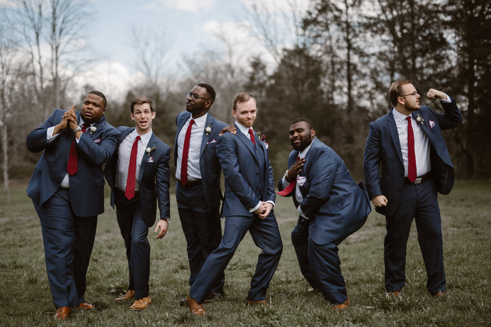 Maroon Groomsmen Ties - A Burgundy + Bronze Ramble Creek Fall Wedding - Erin Morrison Photography