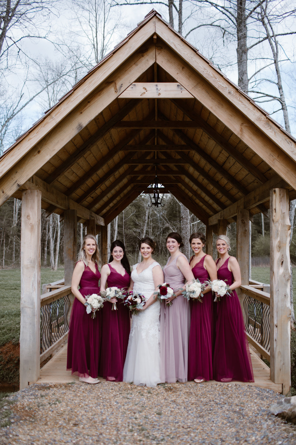 Maroon bridesmaid Dresses - A Burgundy + Bronze Ramble Creek Fall Wedding - Erin Morrison Photography