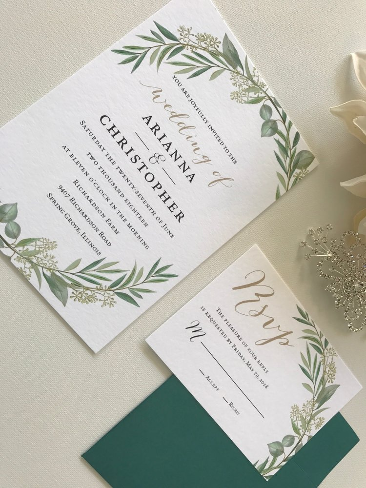The Bridal Boutique | Gold + Green Fall Wedding Invitation — The ...