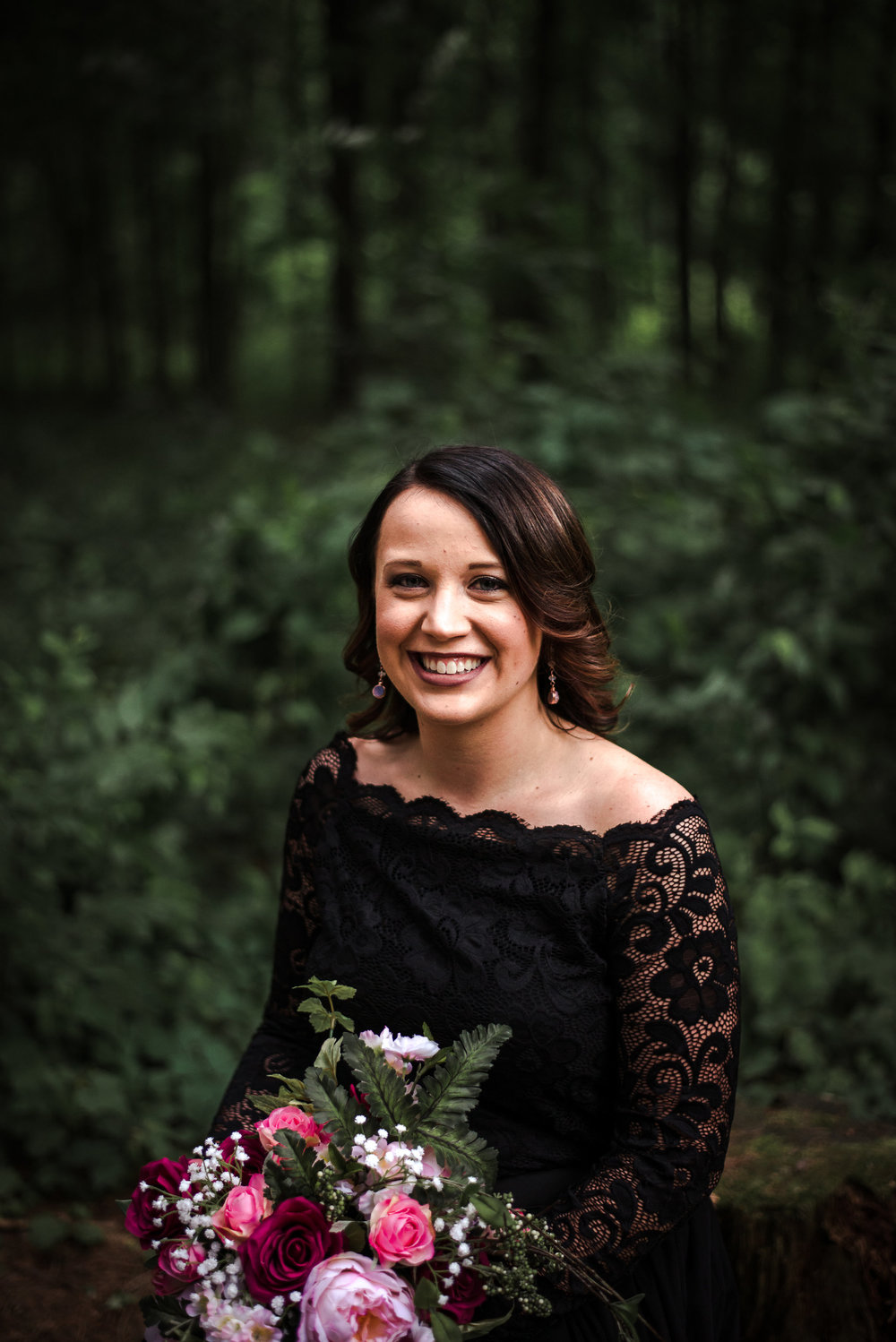 Moody Wedding - Black Lace Wedding Dress - Moody Pink + White Wedding Bouquet -- Wedding Blog - The Overwhelmed Bride