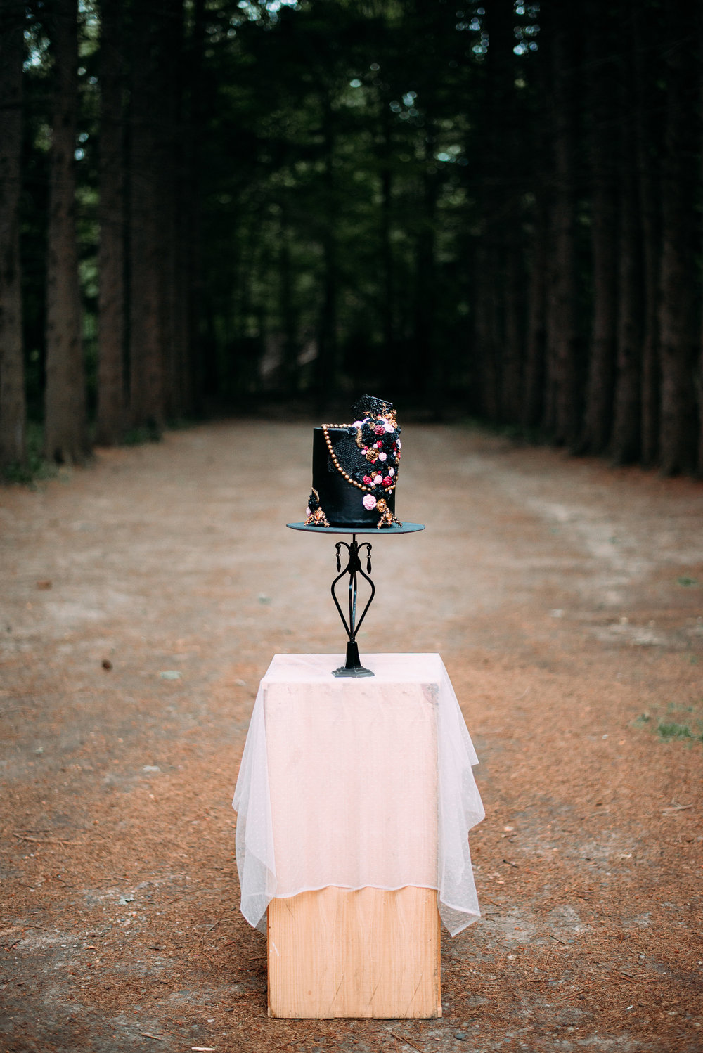 Black Wedding Cake - Moody Wedding - Black Lace Wedding Dress - Moody Pink + White Wedding Bouquet -- Wedding Blog - The Overwhelmed Bride
