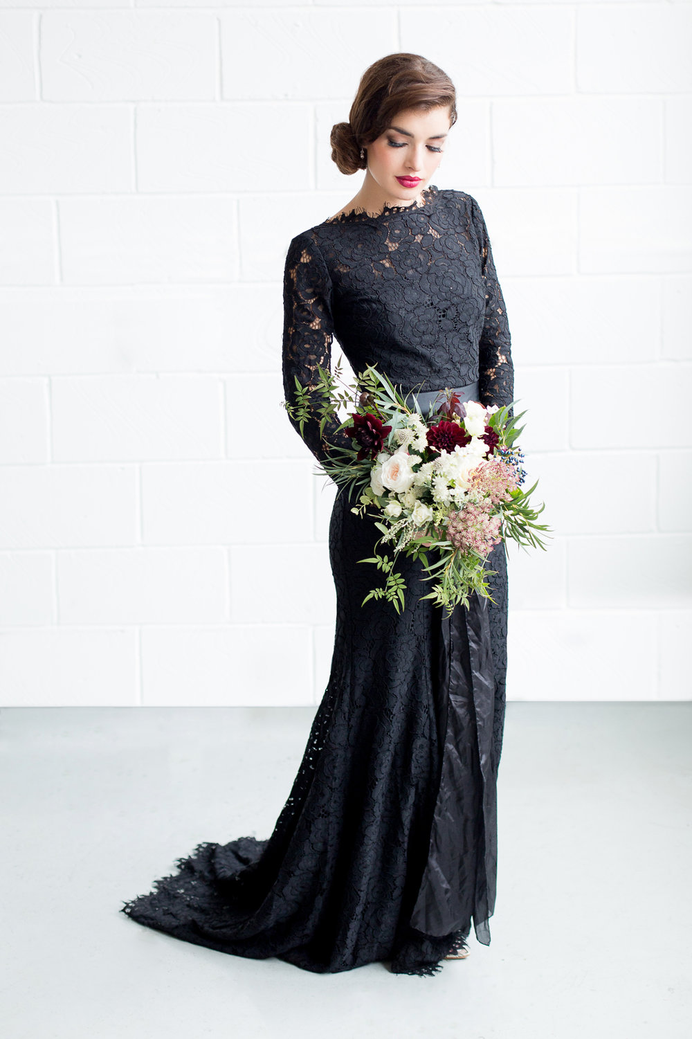 Black Lace Bridesmaid Dress - Industrial Warehouse Wedding -- The Overwhelmed Bride - Wedding Blog