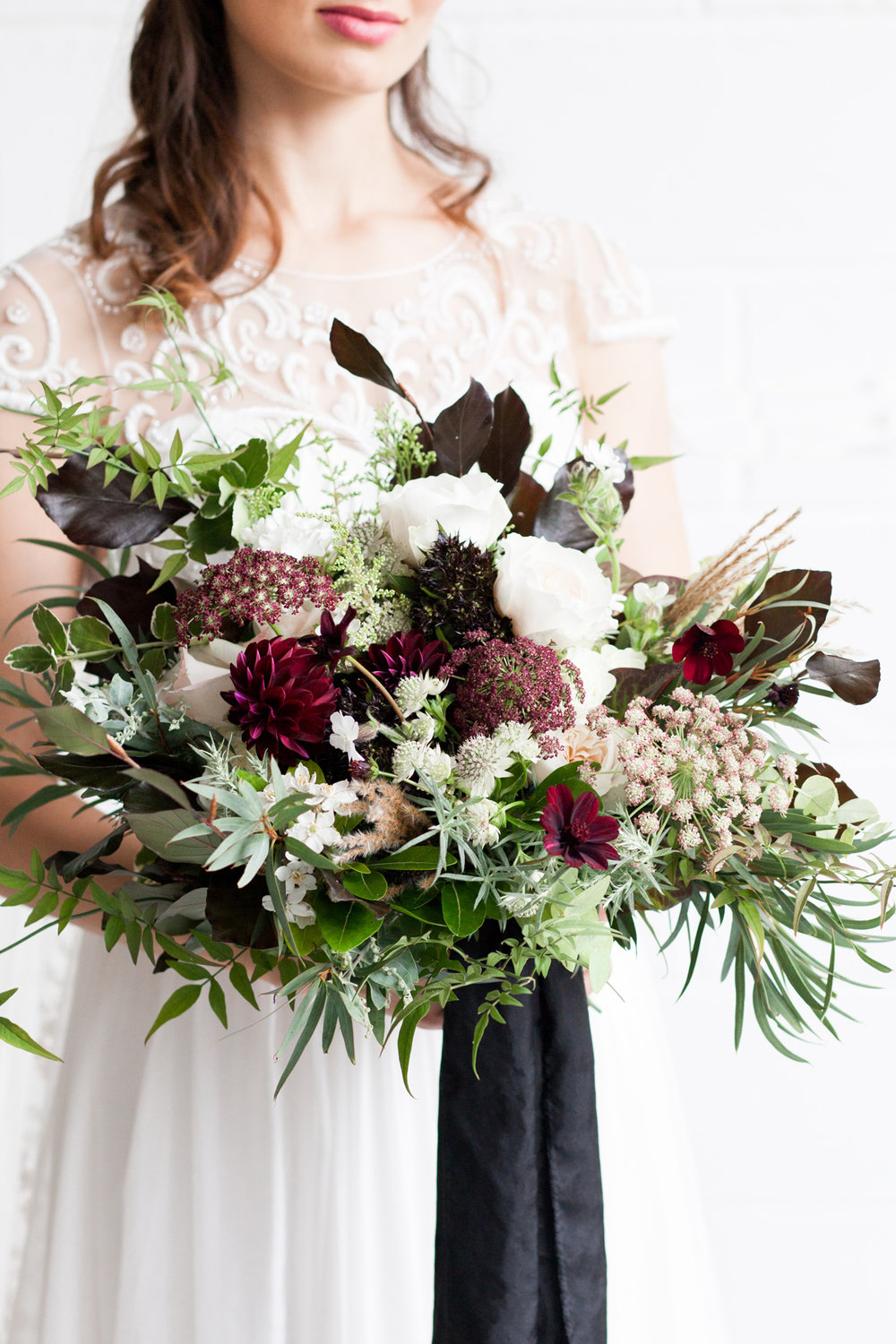 Lose Burgundy Bridal Bouquet - Industrial Warehouse Wedding -- The Overwhelmed Bride - Wedding Blog