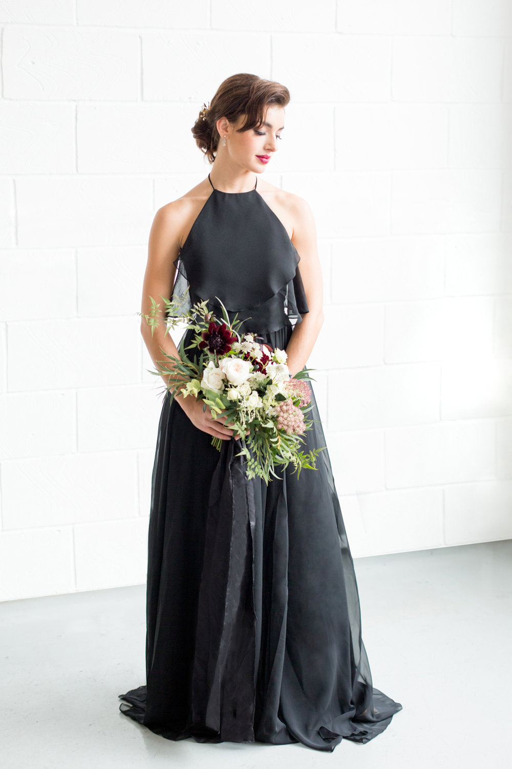 Black Bridesmaid Dress - Industrial Warehouse Wedding -- The Overwhelmed Bride - Wedding Blog