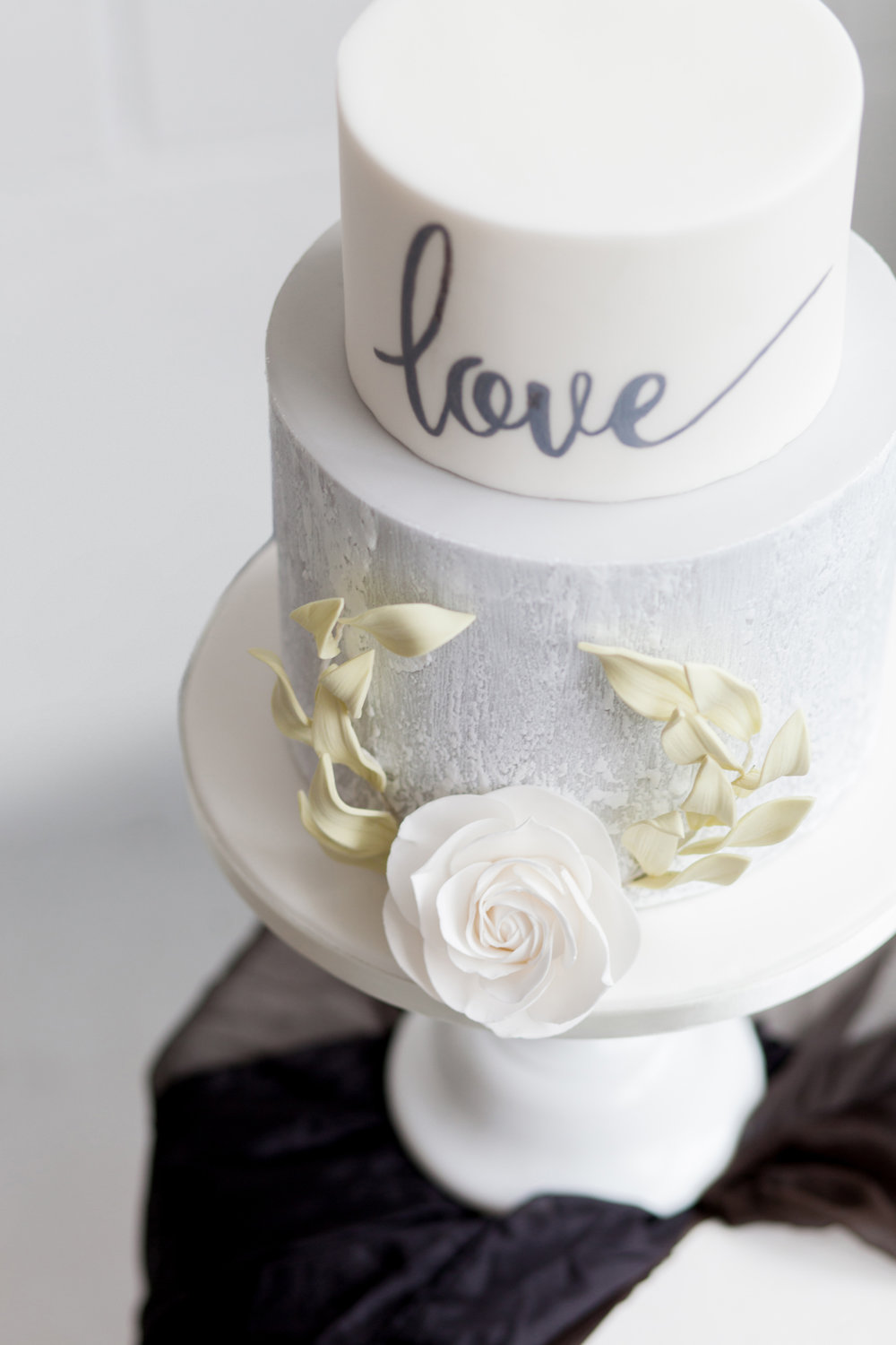 Simple White Wedding Cake - Industrial Warehouse Wedding -- The Overwhelmed Bride - Wedding Blog