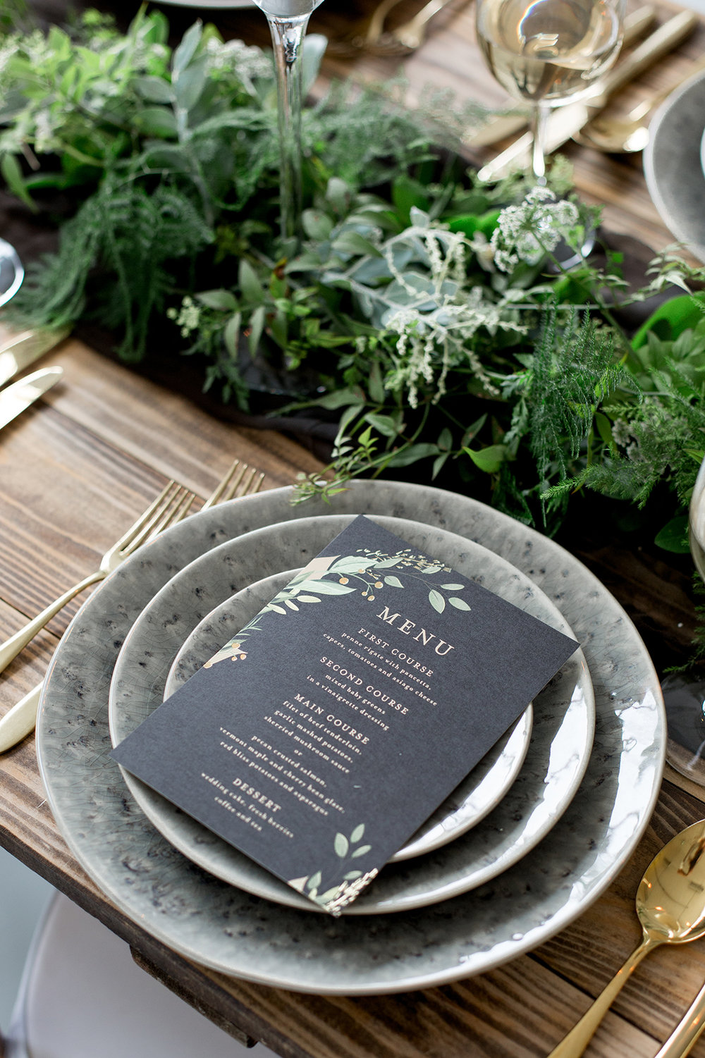 Chalkboard Black Menu Cards - Industrial Warehouse Wedding -- The Overwhelmed Bride - Wedding Blog