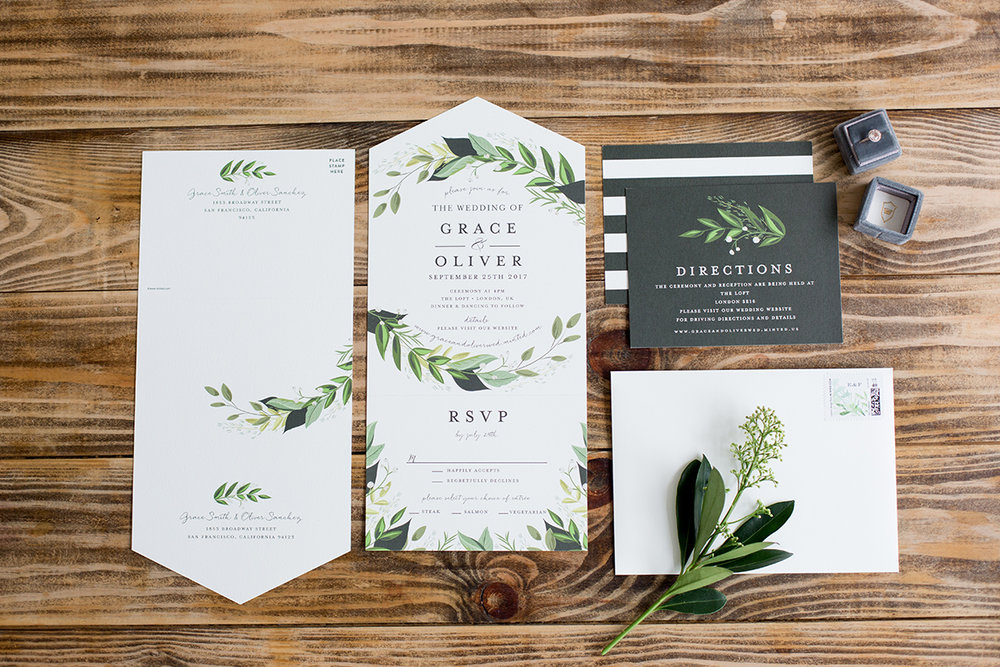 Greenery Wedding Invitation Suite - Minted - Industrial Warehouse Wedding -- The Overwhelmed Bride - Wedding Blog
