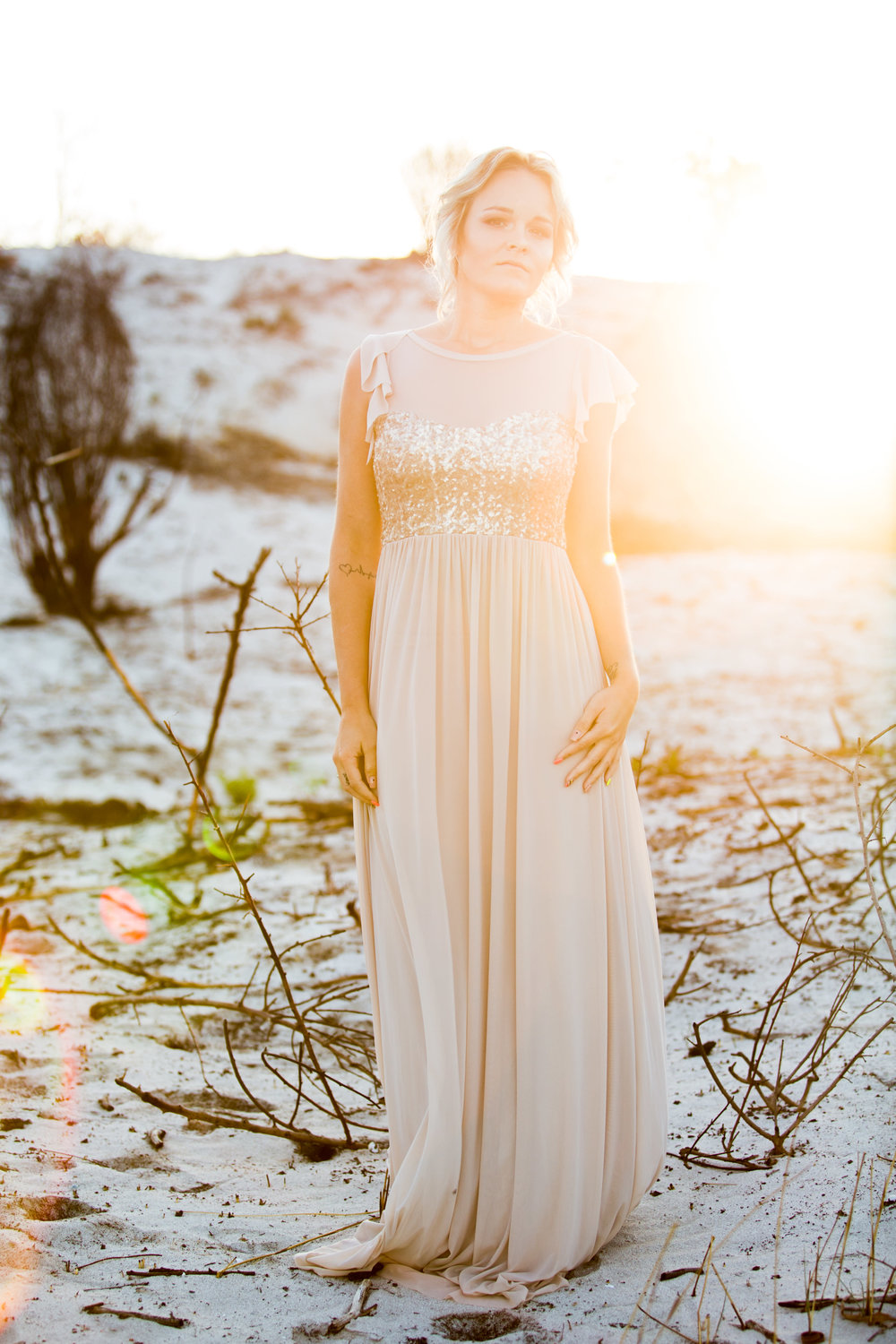 Champagne + Gold Sequin Bridesmaid Dress -- Wedding Blog - The Overwhelmed Bride