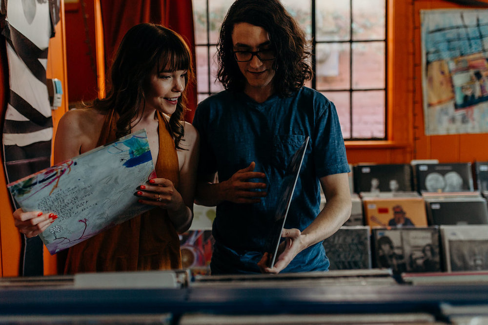 A 70's Inspired Record Shop Engagement -- Agape Photography -- Wedding Inspiration - The Overwhelmed Bride