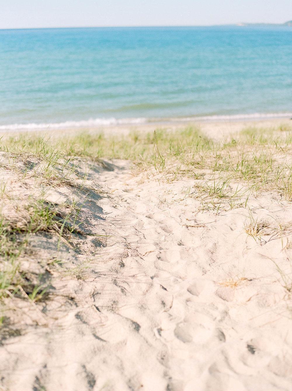 A Northern Michigan Sunset Beach Engagement Photos -- Michigan Wedding Photographer - Wedding Inspiration